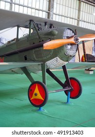 historic  fighter airplane on display at The Royal Museum of the Armed Forces and Military History in Cinquantenaire Park in Brussels