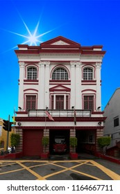 Historic firefighter barrack, one of the first barrack on the island, in the George town city in positioned to intervene with the doors opened and equipment ready
