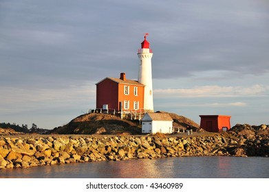 Historic fisgard lighthouse at seashore, it is the first lighthouse built in vancouver island in 1860, victoria, british columbia, canada