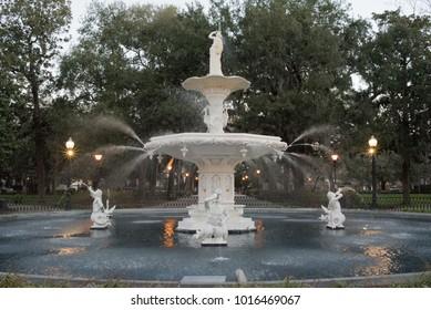 Historic Forsyth Park Fountain in Savannah Georgia.