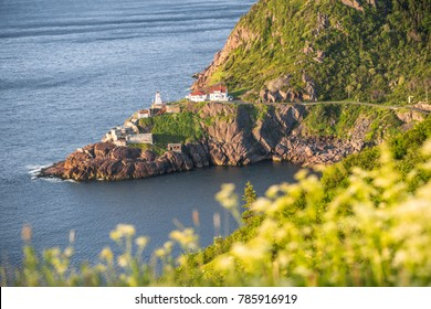 Historic Fort Amherst and lighthouse at The Narrows leading to St. John's, Newfoundland and Labrador, Canada