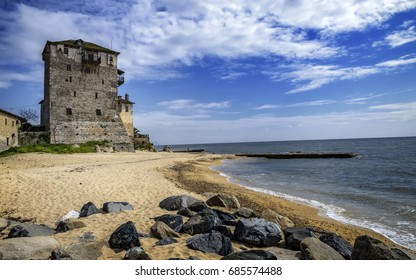 Historic fort in port and city Ouranoupolis , entry site to monasteries of Mount Athos, Chalkidiki, Greece