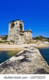 Historic fort in port Ouranoupolis ( Ouranoupoli ), entry site to monasteries of Mount Athos, Chalkidiki, Greece