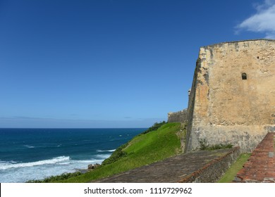 Historic fortress in Old San uan, Puerto Rico on a sunny day and blue skies