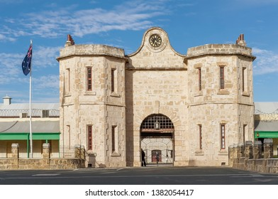 The historic Fremantle Prison and the Australian flag on a beautiful sunny day, Western Australia