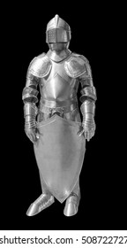 historic full body metallic plate armour in black back