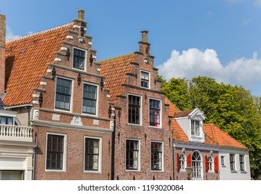 Historic gables at the cheese market of Edam, Holland