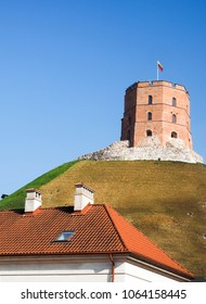 historic Gedimino Fort Tower on Gediminas' Hill in old district Vilnius, Lithuania