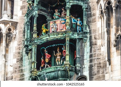 The historic Glockenspiel at Marienplatz, Munich, Germany - Europe