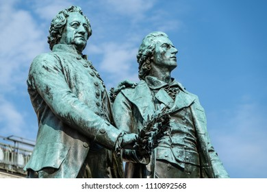 Historic Goethe and Schiller sculpture, Weimar, Germany