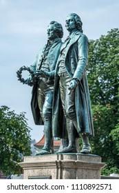 Historic Goethe and Schiller sculpture, Weimar, Germany