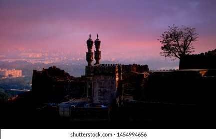 Historic Golconda fort in Hyderabad ,India in the twilight