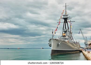 Historic greek warship Averof at port of Thessaloniki, Greece