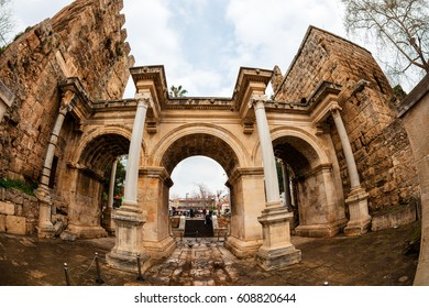 Historic Hadrian's Gate in old city of Antalya, Turkey.