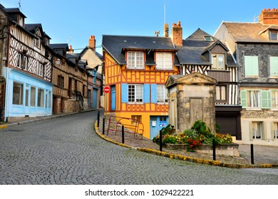 Historic half timbered buildings in the the beautiful town of Honfleur, France