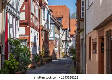 historic half-timbered houses in german small town