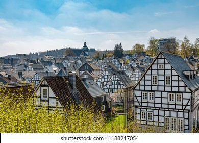 Historic half-timbered houses in the old town of Freudenberg in North Rhine-Westphalia