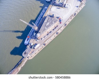 The historic harbour of Krefeld, aerial