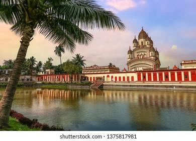 Historic Hindu temple of Goddess Kali at Kolkata Dakshineshwar with scenic landscape at sunset