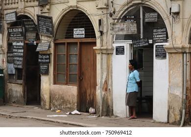 Historic house facade in Kandy Sri Lanka, 08. August 2017