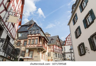 Historic house facades in Beilstein on the Mosel.
