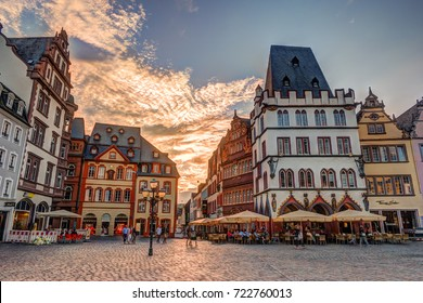 Historic House facades Main Market Trier Rhineland Palatinate Germany.