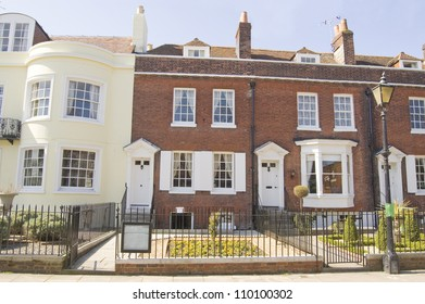 Historic house in Portsmouth, Hampshire where the novelist Charles Dickens was born (1812 - 1870). Now a museum dedicated to the great writer.  Historic house viewed from pavement.