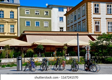 Historic houses in Linz Austria, bicycle parking