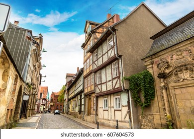 Historic houses in Quedlinburg in a beautiful summer day, Germany