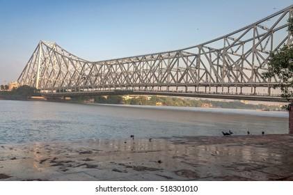 Historic Howrah bridge on river Hooghly at Kolkata - the longest cantilever bridge in India.