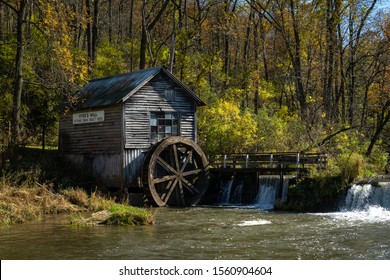 The historic Hyde's mill on a sunny fall/autumn day.  Wisconsin, USA.