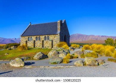Historic and Iconic Building of Good Shepherd Church at Lake Tekapo, South Island New Zealand; Church of the Good Shepherd Lake Tekapo