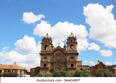 Historic Iglesia de la Compania in the Plaza de Armas of Cusco in Peru. Sits on top of an old Inca Palace.