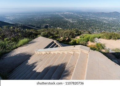 Historic incline railway ruin stairs on top of Echo Mtn in the Angeles National Forest 3 miles above Altadena and Los Angeles, California.