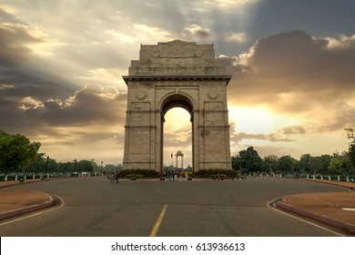 Historic India Gate Delhi - A war memorial on Rajpath road New Delhi at sunrise.