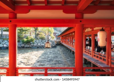The historic Itsukushima temple at Miyajima Island is Japan is built on stilts in Shinden style of architecture to alow the the sea at high tide to fill the space under the building- Low tide shown.