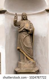 Historic Jesus on the mystery old Prague Cemetery, Czech Republic