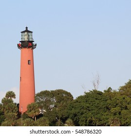 Historic Jupiter Lighthouse, decorated for the holidays.