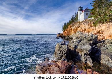 Historic landmark Bass Harbor Head Light in Mount Desert Island, Maine, United States