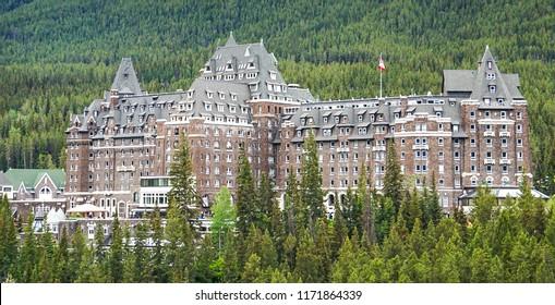 The historic landmark Fairmont Springs Hotel in Banff National Park, Alberta Canada