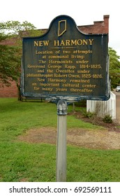 historic landmark plaque for Communal Living communities In New Harmony, Indiana