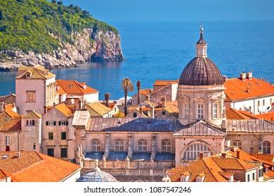 Historic landmarks of old Dubrovnik and Lokrum island view, Dalmatia region of Croatia