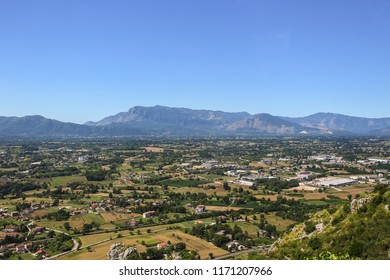 Historic Landscape of hills and valleys viewed from Montecassino