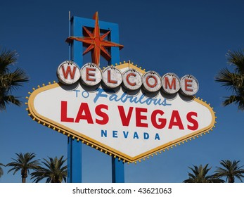 Historic Las Vegas Welcome sign with Palm Trees.