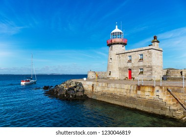 Historic lighthouse at the harbor of Howth near Dublin, Ireland