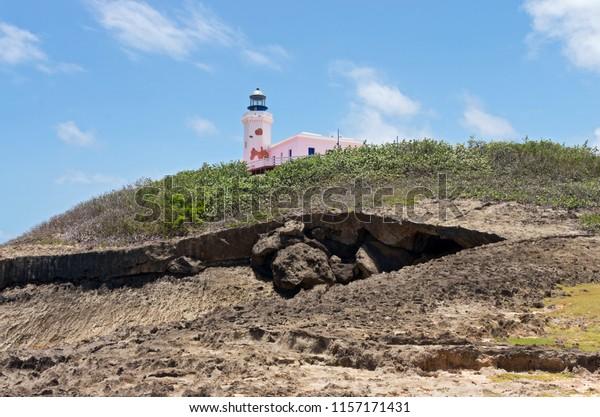 historic lighthouse and headland of punta marillos at arecibo puerto rico