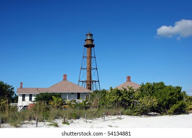 historic lighthouse at midday Sanibel Island Florida