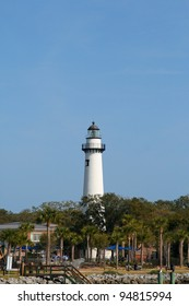 Historic lighthouse on St Simons Island Georgia