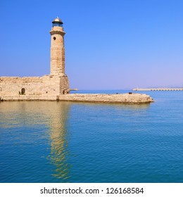 Historic lighthouse and sea in Rethymno, Crete