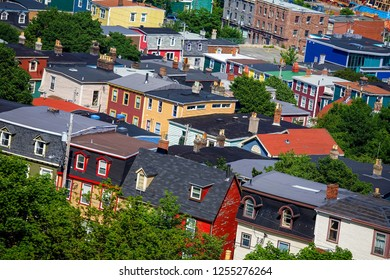 Historic local architecture in the old part of the city of St. John's, Newfoundland.